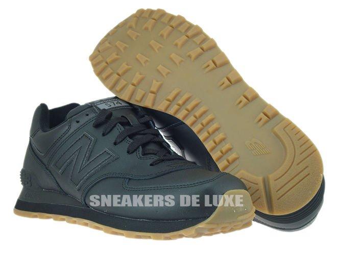 new balance 574 leather black gum