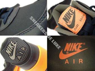 333888-402 Nike Air Max 90 Premium Dark Obsidian/Dark Obsidian/Medium Basic Grey/Orange