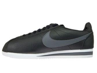 749571-011 Nike Cortez Classic Leather Black/Dark Grey-White