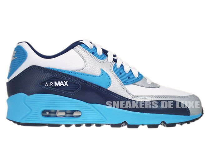 promo code 805c9 54fbe 307793-155 Nike Air Max 90 White Vivid Blue-Obsidian-Metallic Silver ...