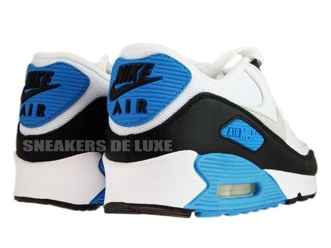 wholesale dealer 0613c af978 ... Nike Air Max 90 White Black-Zen Grey-Laser Blue 325018-108 ...