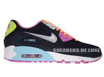 345017-063 Nike Air Max 90 Black/ Metalllic Silver- Red Volt- Glacier Ice