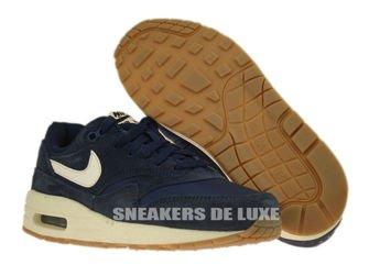 555766-404 Nike Air Max 1 Midnight Navy / Sail - Black