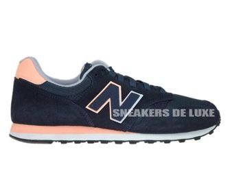 New Balance WL574GN Navy with Black & Pink