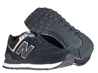 New Balance WL574MEA Black with Champagne Metallic
