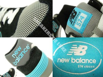 WL574SNB New Balance 574 Black / Light Blue / Grey
